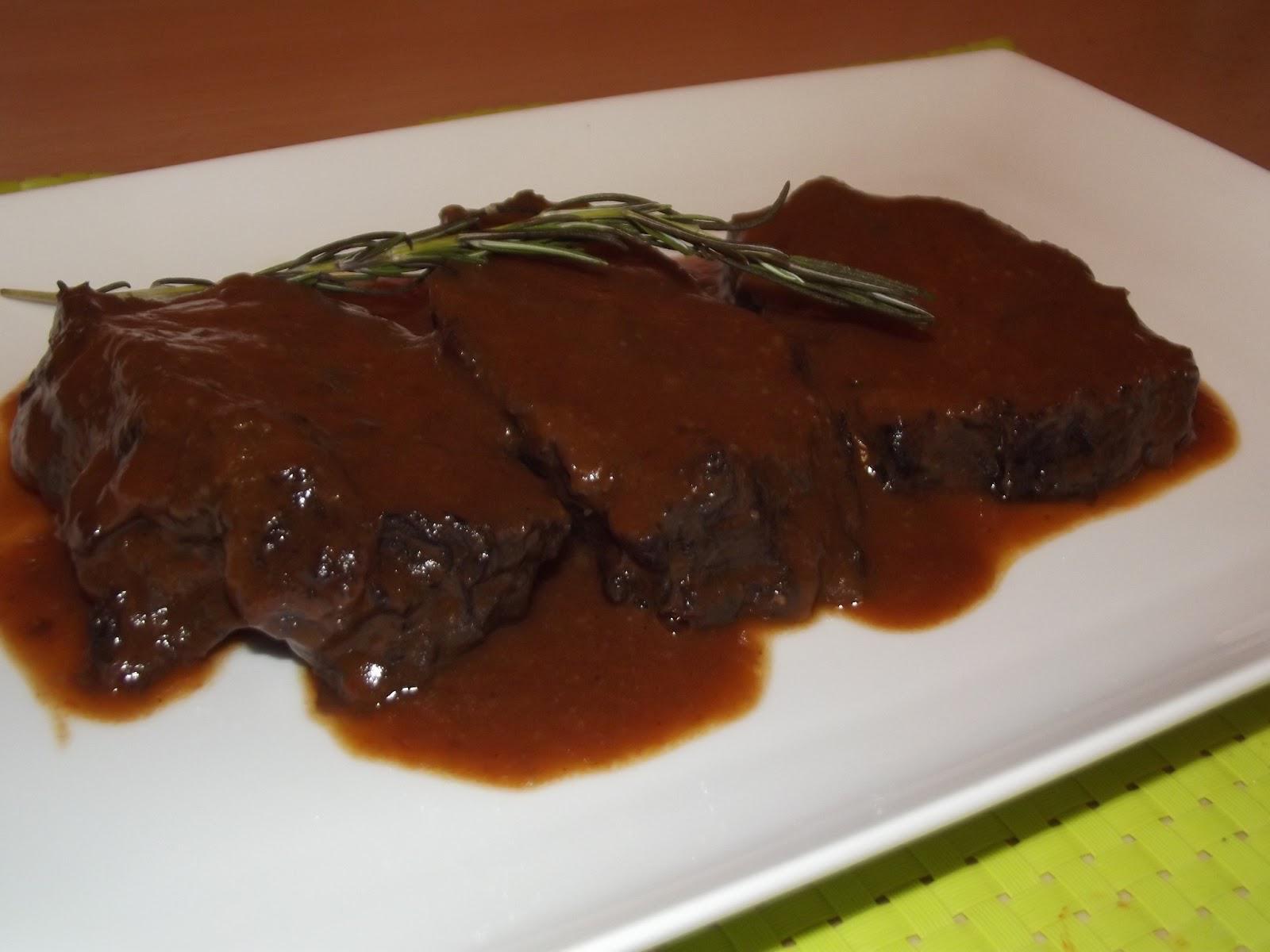 resultado receta con salsa a la española de nuestras carrilleras de ternera